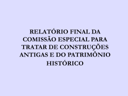 relatório final da comissão especial para tratar de construções