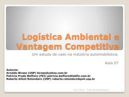 Logística Ambiental e Vantagem Competitiva