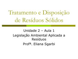Tratamento e Disposição de Resíduos Sólidos