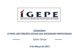 Papel dos Órgãos Sociais das Empresas Participadas pelo Estado