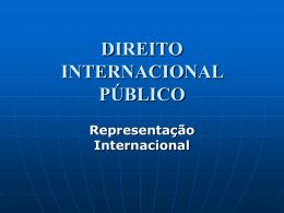 DIREITO INTERNACIONAL PÚBLICO Representação Internacional