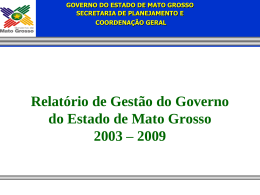 Relatório de Realizações do Governo do Estado de Mato