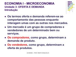 ECONOMIA I - MICROECONOMIA Unidade 3: OFERTA E