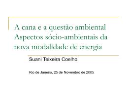 Aspectos sócio-ambientais da nova modalidade de energia