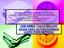 rua-juriti, q-20, l-28 cep74.855-490, parque das - CREF-14/GO-TO