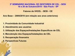 3º SEMINÁRIO NACIONAL DE GESTORES DE CEL