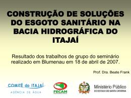 construção de soluções do esgoto sanitário na bacia hidrográfica do