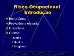 Risco Ocupacional - Secretaria de Estado da Saúde do Paraná