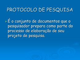PROTOCOLO DE PESQUISA - Pós Graduação em Ciências da Saúde