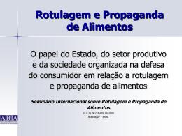 Rotulagem e Propaganda de Alimentos