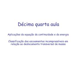 Aplicações da equação da continuidade e da