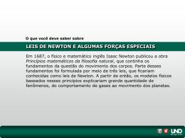 LEIS DE NEWTON E ALGUMAS FORÇAS ESPECIAIS O que você