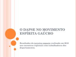 O DAPSE NO MOVIMENTO ESPÍRITA GAÚCHO
