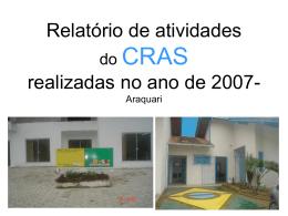 Relatório de atividades do CRAS realizadas no ano de 2007