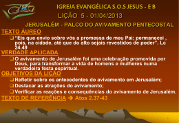 Jerusalém, palco do avivamento pentecostal