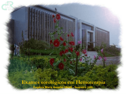 Exames sorológicos em Hemoterapia