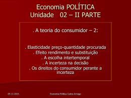 unidade 2 ii parte : a sensibilidade do consumidor aos preços, seus