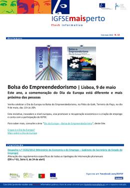 Bolsa do Empreendedorismo | Lisboa, 9 de maio Este ano, a