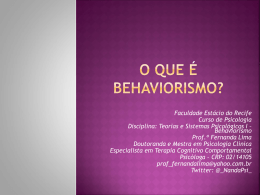 O QUE É O BEHAVIORISMO?