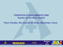 PROPOSTA PLANEJAMENTO 2009 - Nordeste