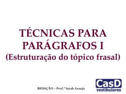 AULA 14 - TÉCNICAS PARA PARÁGRAFOS I