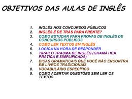 OBJETIVOS DAS AULAS DE INGLÊS