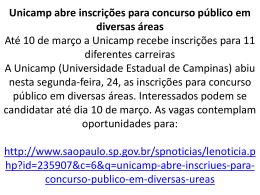 Unicamp abre inscrições para concurso público em diversas áreas