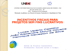 Incentivos Fiscais para projetos sem fins lucrativos - dba3-2011