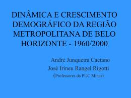 dinâmica e crescimento demográfico da região metropolitana de