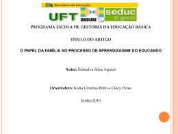 o papel da familia no processo de aprendizagem do educando
