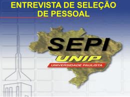 ENTREVISTA DE SELEÇÃO DE PESSOAL