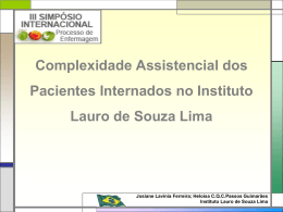 APRESENTAÇÃO ORAL Complexidade Assistencial tema livre tard