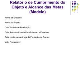 Modelo de Apresentação de Prestação de Contas