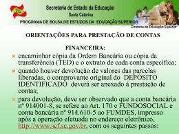 Apresentação Capacitação SED/SC - Prestação de Contas