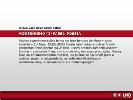 MODERNISMO (2 a FASE)