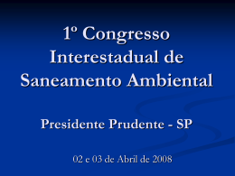 1º Congresso Interestadual de Saneamento Ambiental Presidente