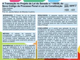 A Transação no Projeto de Lei do Senado n.º 156/09, do