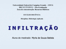 Infiltração - Área de Engenharia de Recursos Hídricos