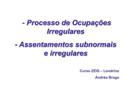 assentamentos subnormais e irregulares