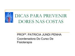 DICAS PARA PREVENIR DORES NAS COSTAS - PUC-SP