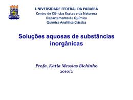 Soluções aquosas de substâncias inorgânicas