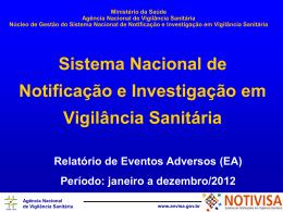 Relatório gerencial dos eventos adversos relacionados