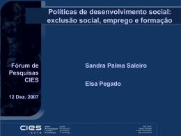 exclusão social, emprego e formação