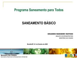 Programa Saneamento para Todos - Ministério das