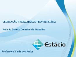 DIREITO COLETIVO DE TRABALHO LEGISLAÇÃO TRABALHISTA