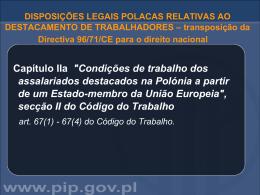 DISPOSIÇÕES LEGAIS POLACAS RELATIVAS AO