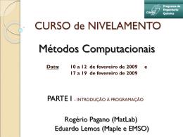 CURSO de NIVELAMENTO - Programa de Engenharia Química