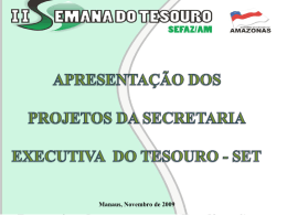 Projetos da Secretaria do Tesouro - Sefaz-AM