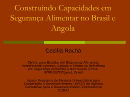 Construindo Capacidades em Segurança Alimentar no Brasil e