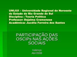 Participação das OSCIPS nas ações sociais ppt